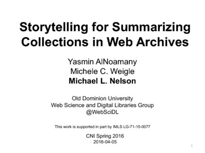 Storytelling for Summarizing Collections in Web Archives